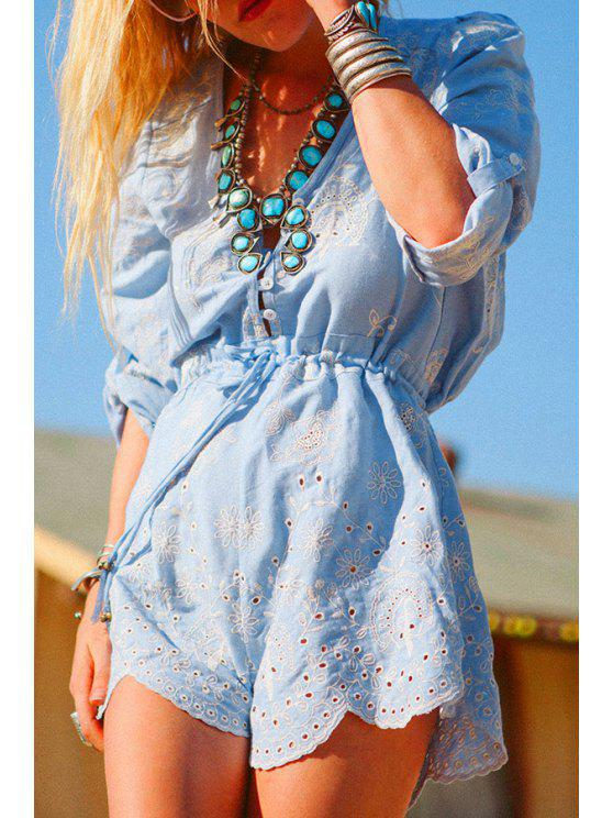 womens Embroidered Openwork Romper - BLUE S