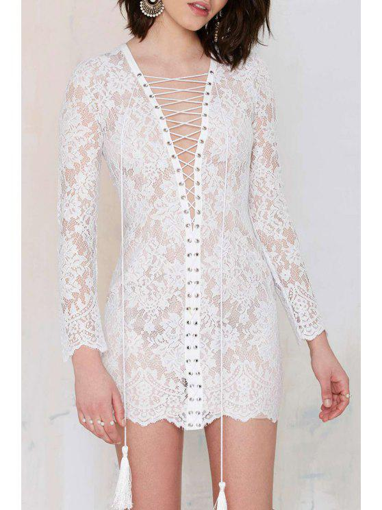 lady See-Through Lace Floral Long Sleeve Dress - WHITE ONE SIZE(FIT SIZE XS TO M)