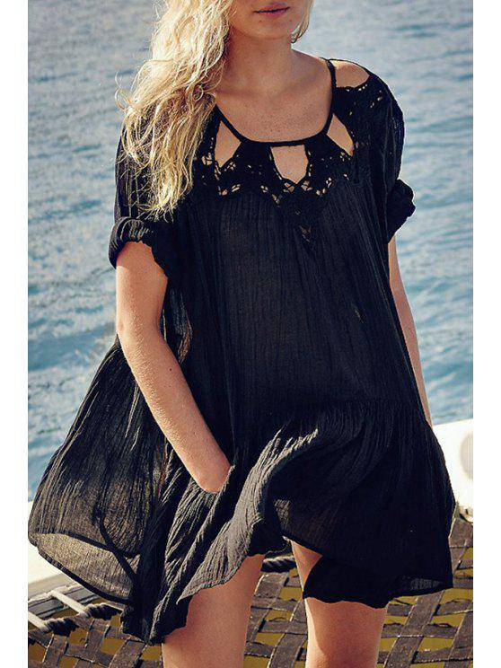 unique Embroidered Hollow Out Loose Dress - BLACK S