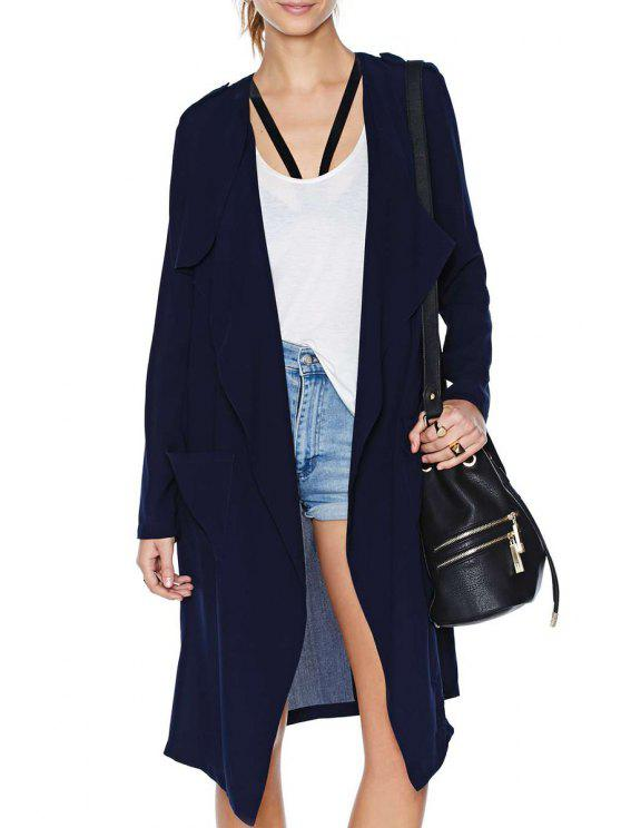 fashion Solid Color Pockets Long Sleeve Trench Coat - DEEP BLUE S