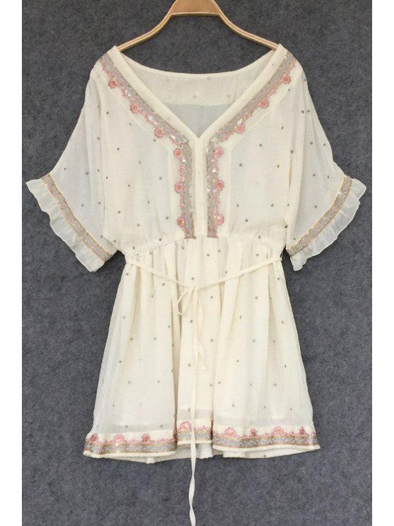 unique Embroidered Polka Dot Tunic Dress - OFF-WHITE ONE SIZE(FIT SIZE XS TO M)