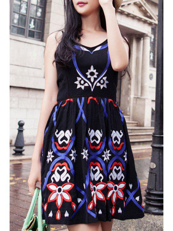 buy Spaghetti Strap Totem Pattern Embroidered Dress - BLACK S