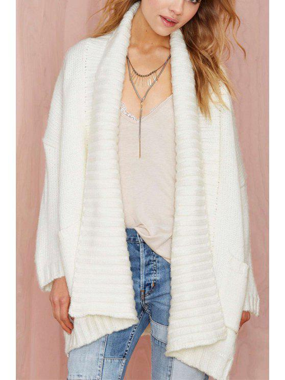 sale Shawl Collar White Pocket Long Sleeve Cardigan - WHITE ONE SIZE(FIT SIZE XS TO M)