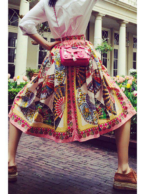 shops Ruffled Folding Fan Print Midi Skirt - COLORMIX S