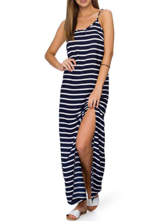 womens Spaghetti Strap Stripes High Slit Sleeveless Dress - AS THE PICTURE S