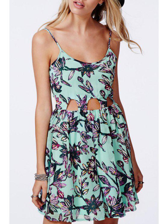 trendy Spaghetti Strap Floral Cut Out Dress - GREEN S