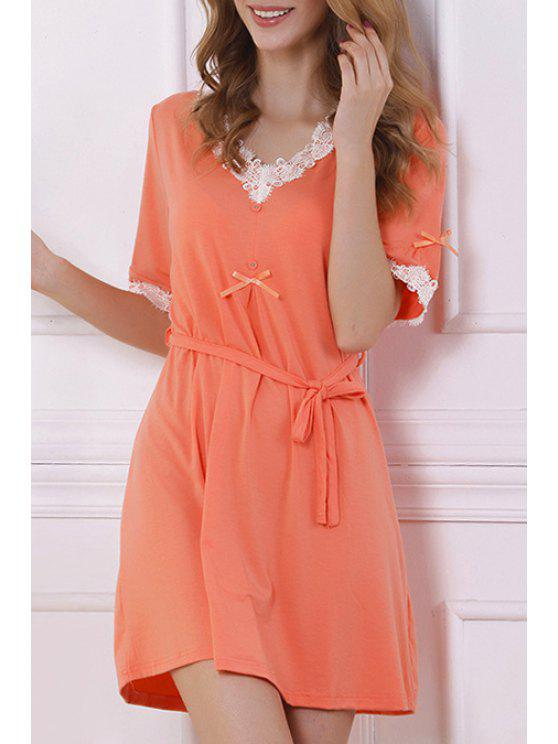 shop White Lace Splicing Short Sleeve Babydoll - ORANGE L