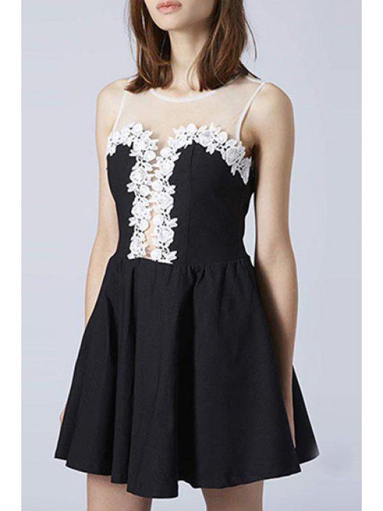 new Sleeveless Voile and Lace Splcied Dress - BLACK S