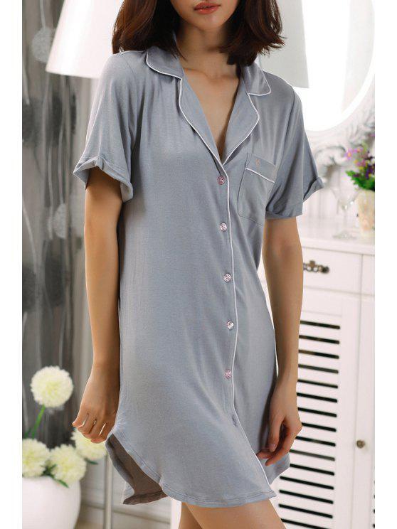 latest Single-Breasted Pocket Short Sleeve Babydoll - GRAY XS