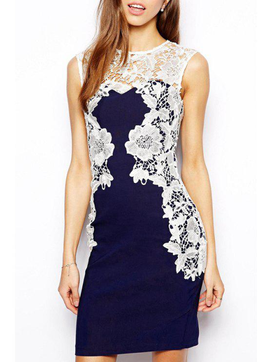 fashion Lace Spliced Openwork Bodycon Dress - BLUE AND WHITE S