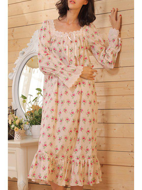 trendy Square Neck Tiny Floral Print Long Sleeve Babydoll - COLORMIX XS