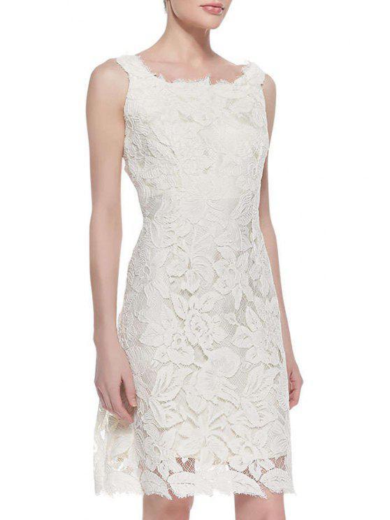 unique Crochet Flower White Lace Dress - WHITE S