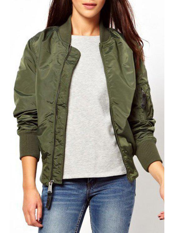 chic Solid Color Stand Collar Long Sleeves Jacket - ARMY GREEN S