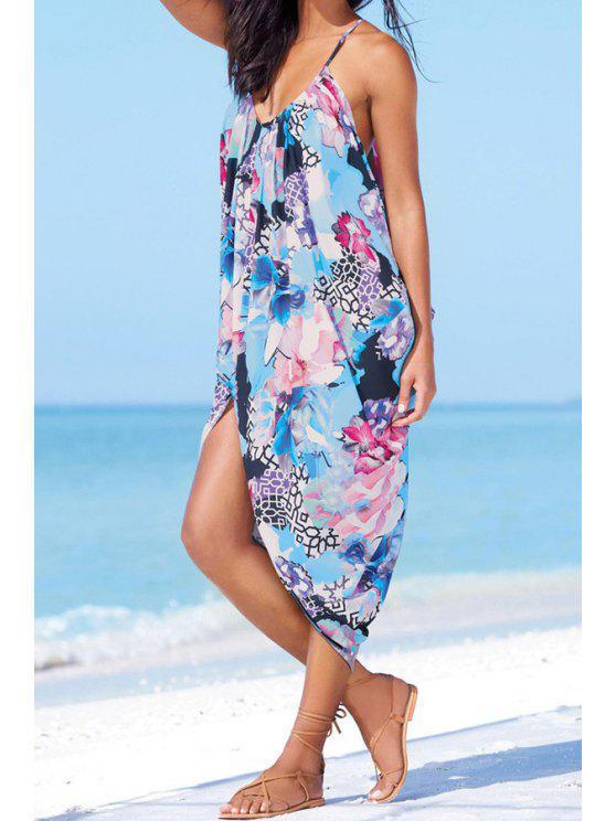 online Spaghetti Strap Floral Asymmetric Midi Dress - BLUE S