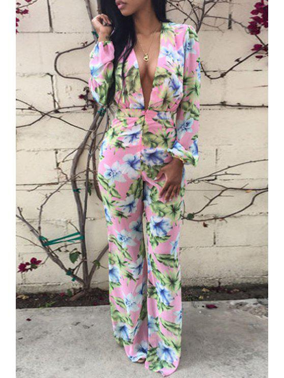 lady Floral Plunging Neck Long Sleeve Jumpsuit - PINK M
