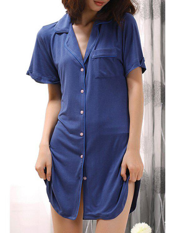 chic Solid Color Pocket Short Sleeve Babydoll - DEEP BLUE XS