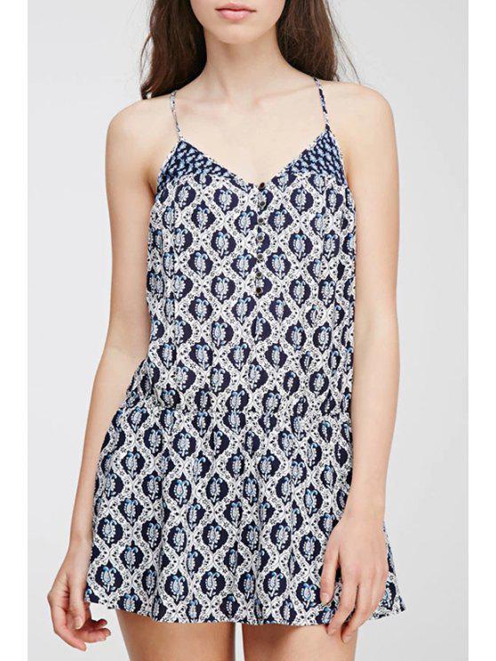 sale Spaghetti Strap Ethnic Pattern Print Dress - BLUE AND WHITE S