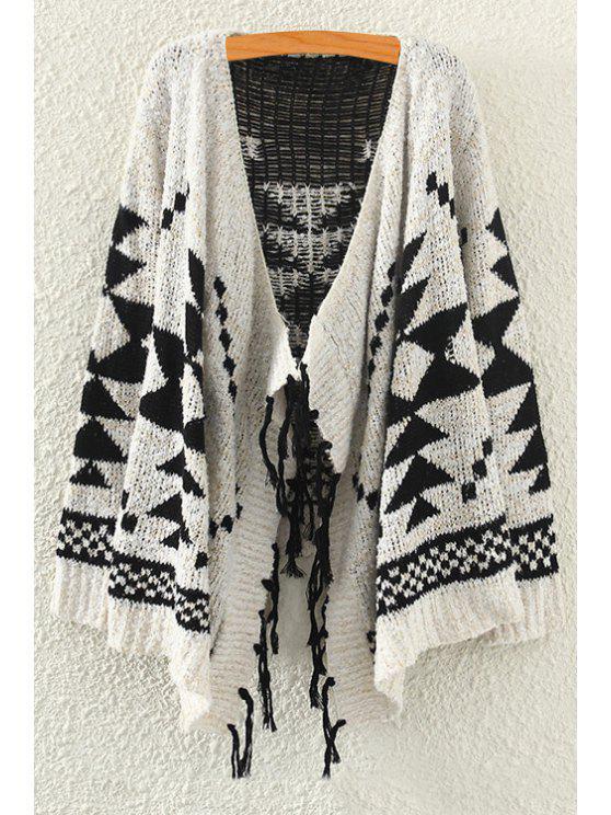 women Asymmetrical Geometric Pattern Long Sleeve Cardigan - OFF-WHITE ONE SIZE(FIT SIZE XS TO M)