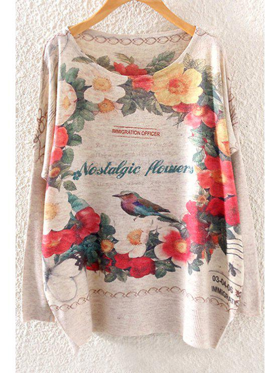 women's Floral Bird Print Long Sleeve Sweater - OFF-WHITE ONE SIZE(FIT SIZE XS TO M)