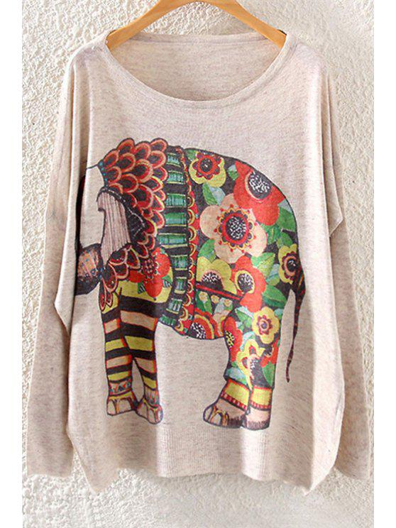 ladies Colorful Elephant Print Long Sleeve Sweater - OFF-WHITE ONE SIZE(FIT SIZE XS TO M)