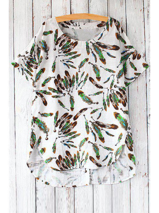fashion Short Sleeve Feather Print Loose T-Shirt - GREEN ONE SIZE(FIT SIZE XS TO M)
