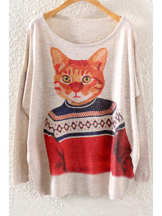fashion Scoop Neck Cat Print Long Sleeve Sweater - OFF-WHITE ONE SIZE(FIT SIZE XS TO M)