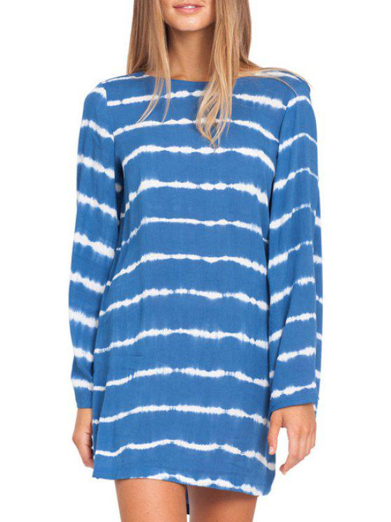 unique Striped Cut Out Long Sleeve Dress - AZURE S