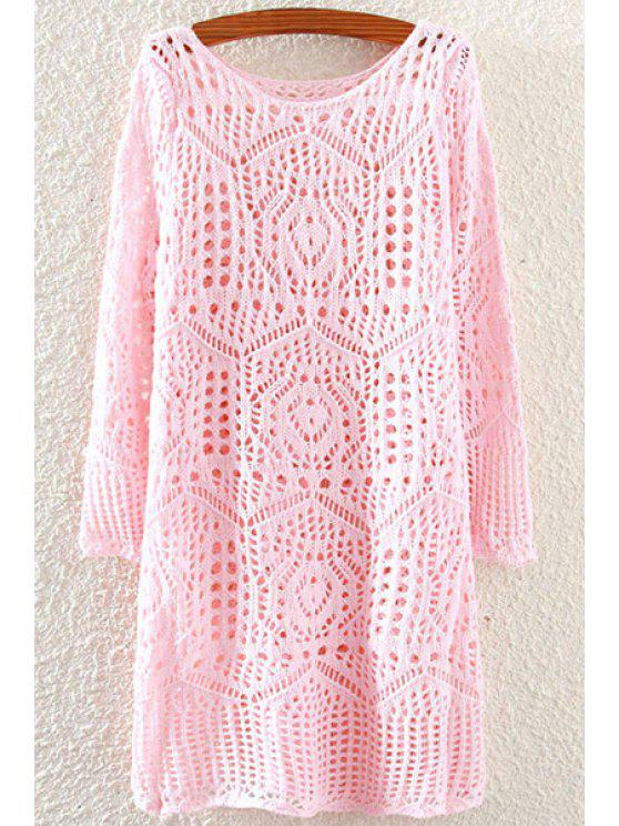 unique Solid Color Openwork Long Sleeve Sweater - PINK ONE SIZE(FIT SIZE XS TO M)