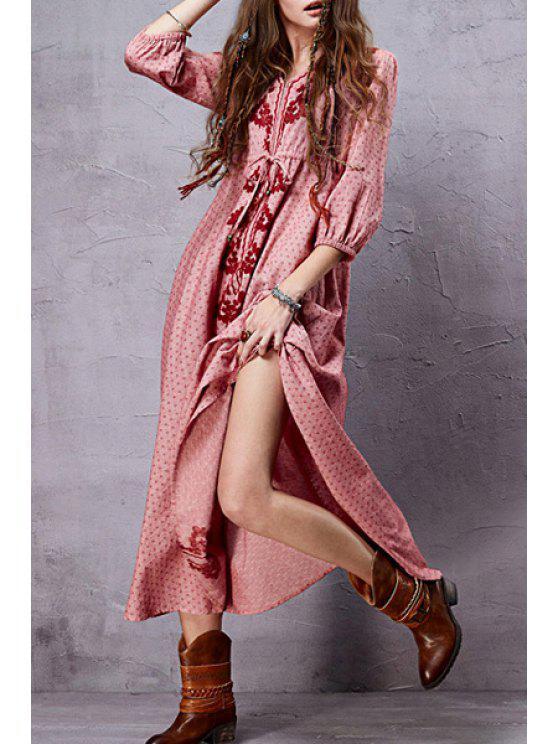 fashion Embroidered Jacquard Maxi Slit Dress - PINK S