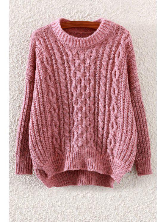 lady Plait Pattern High Low Long Sleeve Sweater - PINK ONE SIZE(FIT SIZE XS TO M)