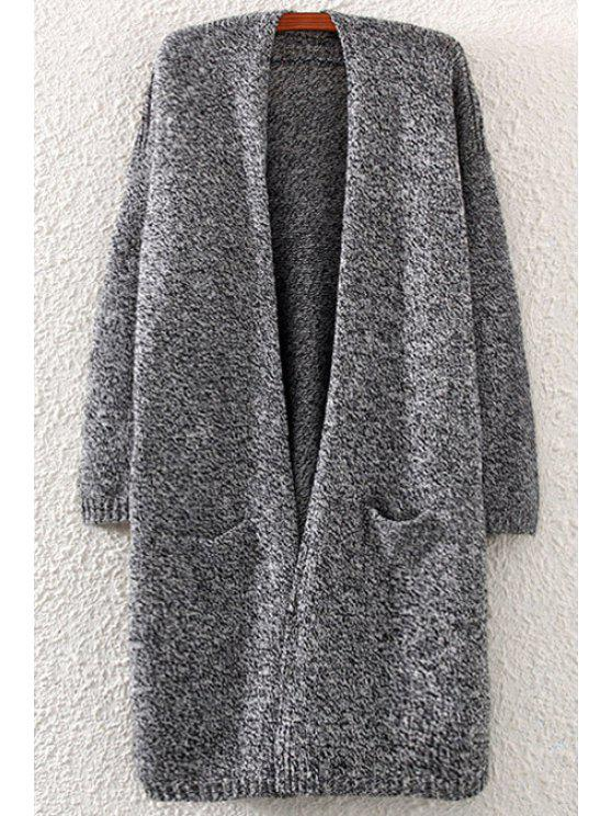 shop Pocket Back Slit Long Sleeve Cardigan - GRAY ONE SIZE(FIT SIZE XS TO M)