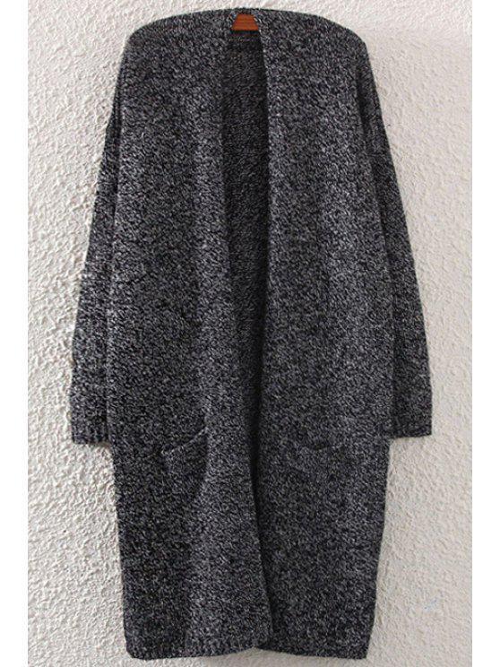 latest Pocket Back Slit Long Sleeve Cardigan - BLACK ONE SIZE(FIT SIZE XS TO M)