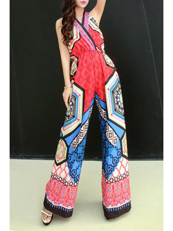 new Vintage Print Halterneck Jumpsuit - RED ONE SIZE(FIT SIZE XS TO M)