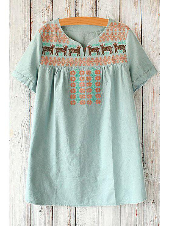 fancy Short Sleeve Fawn Embroidered Loose T-Shirt - BLUE ONE SIZE(FIT SIZE XS TO M)