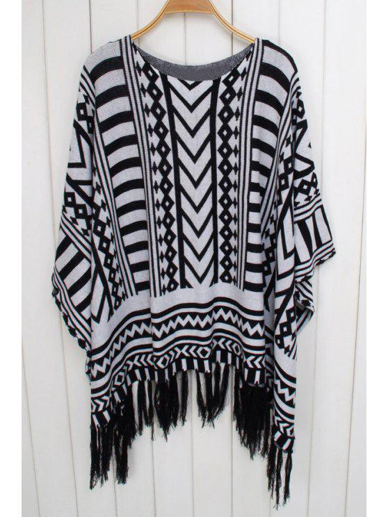 best Geometric Pattern 3/4 Sleeve Knitwear - WHITE AND BLACK ONE SIZE(FIT SIZE XS TO M)