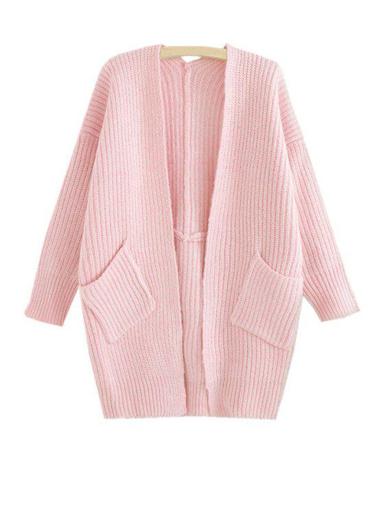 trendy Loose-Fitting Pocket Long Sleeve Cardigan - PINK ONE SIZE(FIT SIZE XS TO M)