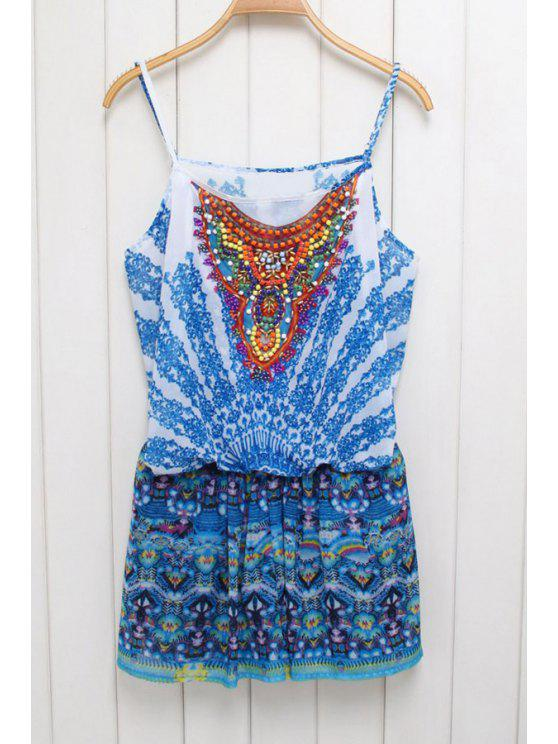 hot Ethnic Print Cami Beaded Playsuit - BLUE S