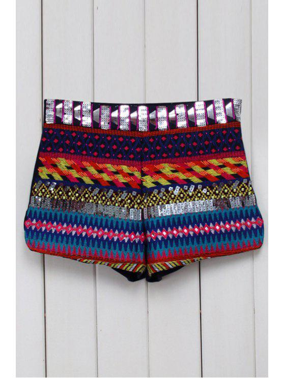 shops Ethnic Pattern Straight Leg Shorts - BLACK M