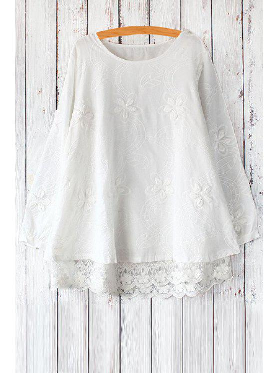 outfit Long Sleeve Lace Spliced Flare Dress - WHITE ONE SIZE(FIT SIZE XS TO M)