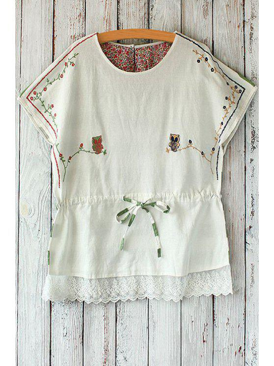 sale Night Owl Embroidered Striped T-Shirt - GREEN ONE SIZE(FIT SIZE XS TO M)