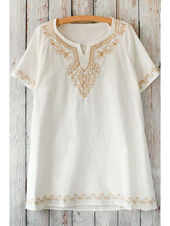 fancy Golden Embroidery Loose T-Shirt - WHITE ONE SIZE(FIT SIZE XS TO M)