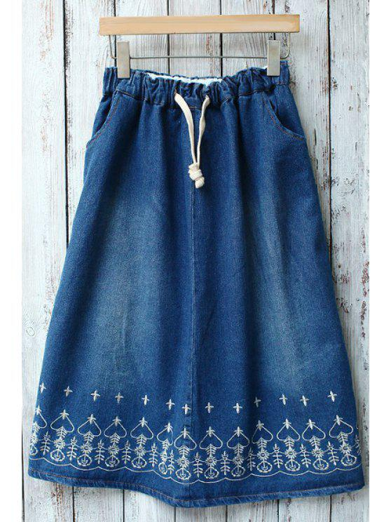 online Heart Embroidered Drawstring Pocket Denim Skirt - BLUE ONE SIZE(FIT SIZE XS TO M)