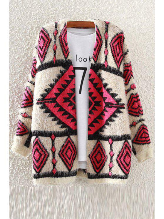 trendy Argyle Pattern Mohair Long Sleeve Cardigan - OFF-WHITE ONE SIZE(FIT SIZE XS TO M)