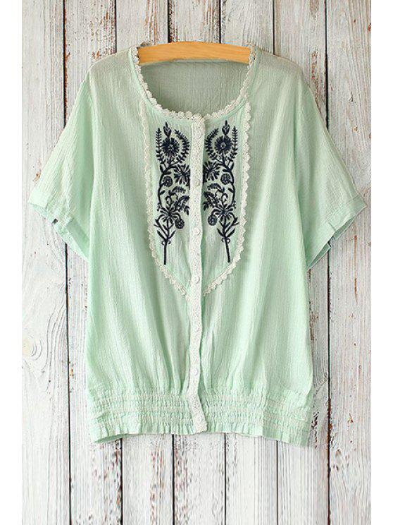 trendy Embroidered Single-Breasted Blouse - LIGHT GREEN ONE SIZE(FIT SIZE XS TO M)