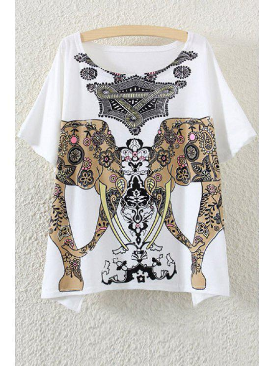 affordable Scoop Neck Elephant Print Short Sleeve T-Shirt - WHITE ONE SIZE(FIT SIZE XS TO M)
