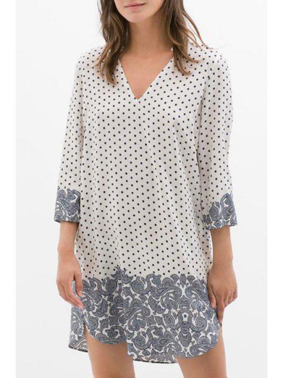 sale 3/4 Sleeve Polka Dot Loose-Fitting Dress - WHITE S