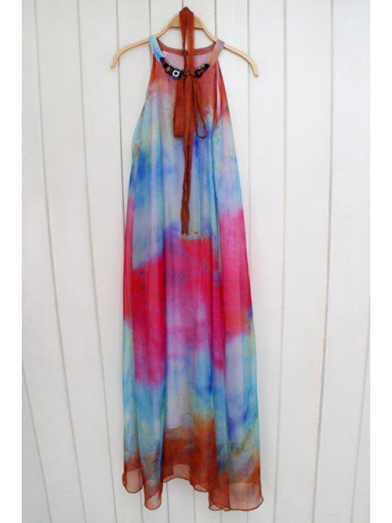 lady Tie Dye Print Sleeveless Maxi Dress - COLORMIX S