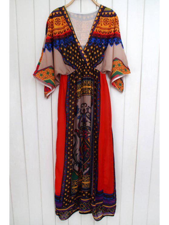 outfit Ethnic Print Plunging Neck 3/4 Sleeve Maxi Dress - COLORMIX ONE SIZE(FIT SIZE XS TO M)