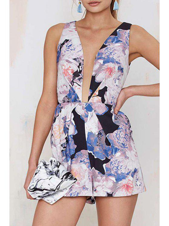 shop Plunging Neck Floral Pocket Romper - WHITE XS