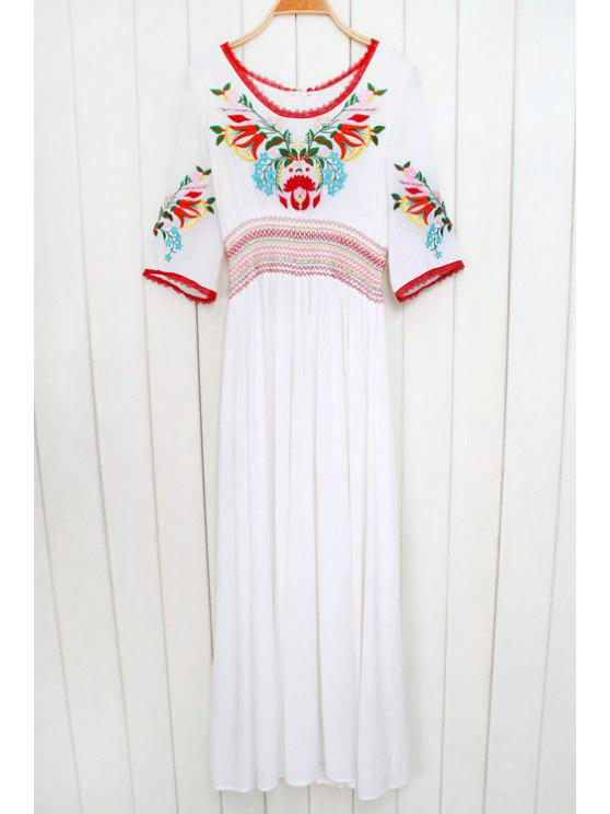 shops Floral Embroidery Half Sleeve Maxi Dress - WHITE S